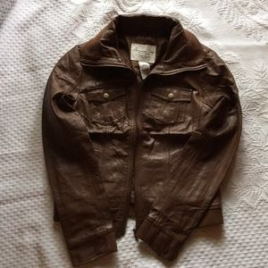American Rag Leather Bomber Jacket Sz M
